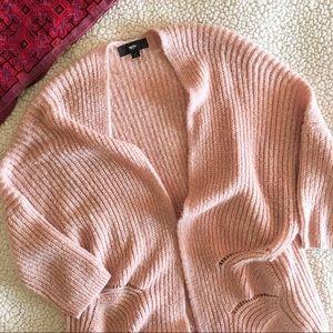 Open front dolman sleeve cardigan